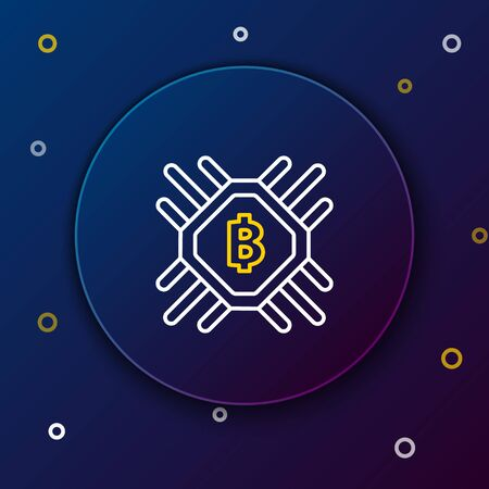 White and yellow line CPU mining farm icon on dark blue background. Bitcoin sign inside processor. Cryptocurrency mining community. Digital money. Colorful outline concept. Vector Illustration 일러스트