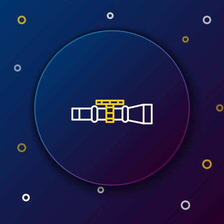 White and yellow line Sniper optical sight icon on dark blue background. Sniper scope crosshairs. Colorful outline concept. Vector Illustration