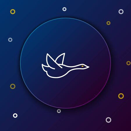 White and yellow line Flying duck icon on dark blue background. Colorful outline concept. Vector Illustration Ilustracja