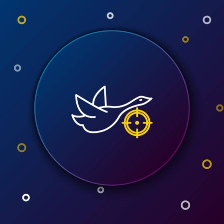 White and yellow line Hunt on duck with crosshairs icon on dark blue background.
