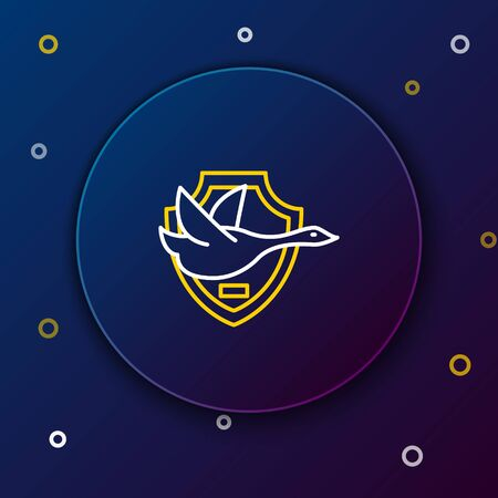 White and yellow line Flying duck on shield icon on dark blue background. Hunting trophy on wall. Colorful outline concept. Vector Illustration