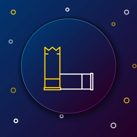 White and yellow line Cartridges icon on dark blue background. Shotgun hunting firearms cartridge. Hunt rifle bullet icon. Colorful outline concept. Vector Illustration