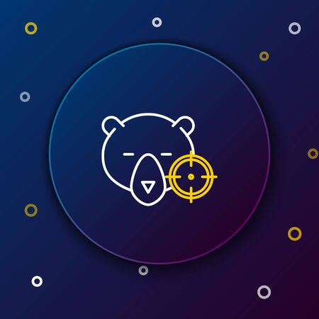 White and yellow line Hunt on bear with crosshairs icon on dark blue background. Hunting club with bear and target. Rifle lens aiming a bear. Colorful outline concept. Vector Illustration 向量圖像