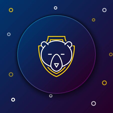 White and yellow line Bear head on shield icon on dark blue background. Hunting trophy on wall. Colorful outline concept. Vector Illustration