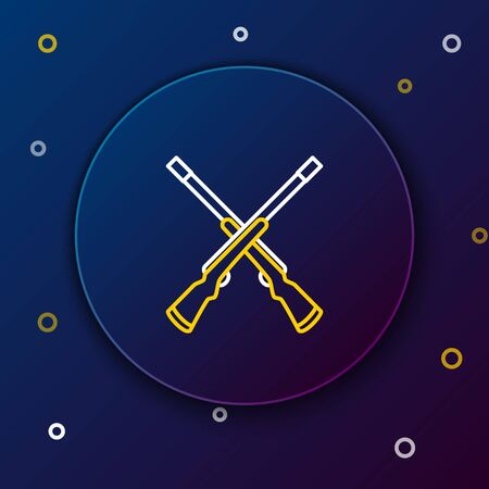 White and yellow line Two crossed shotguns icon on dark blue background. Hunting gun. Colorful outline concept. Vector Illustration