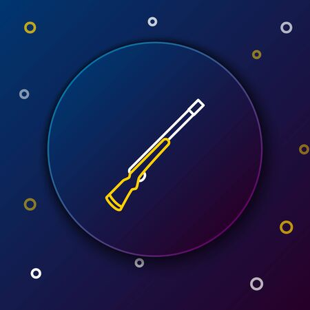 White and yellow line Hunting gun icon on dark blue background. Hunting shotgun. Colorful outline concept. Vector Illustration 向量圖像