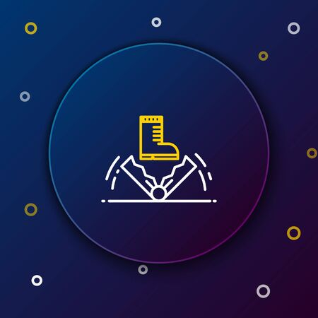 White and yellow line Trap hunting icon on dark blue background. Colorful outline concept. Vector Illustration