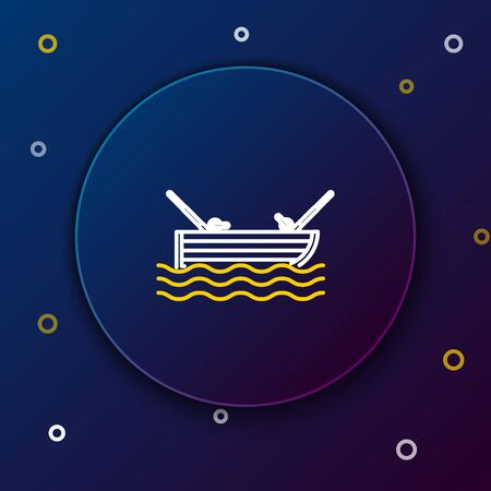 White and yellow line Fishing boat with fishing rod on water icon isolated on dark blue background. Colorful outline concept. Vector Illustration  イラスト・ベクター素材