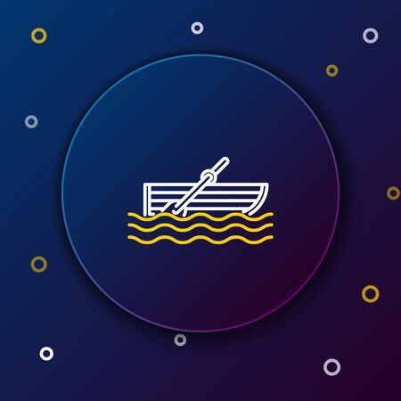 White and yellow line Fishing boat with oars on water icon isolated on dark blue background. Colorful outline concept. Vector Illustration