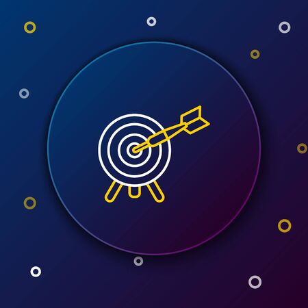 White and yellow line Target with arrow icon isolated on dark blue background. Dart board sign. Archery board icon. Dartboard sign. Business goal concept. Colorful outline concept. Vector Illustration