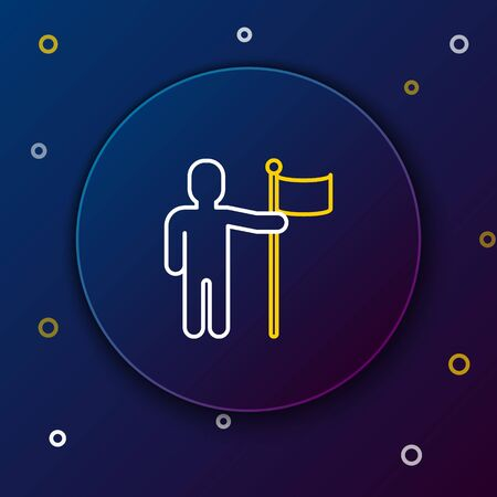 White and yellow line Man holding flag icon isolated on dark blue background. Colorful outline concept. Vector Illustration