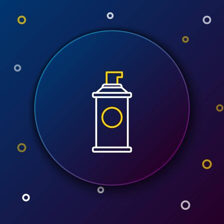 White and yellow line Shaving gel foam icon isolated on dark blue background. Shaving cream. Colorful outline concept. Vector Illustration