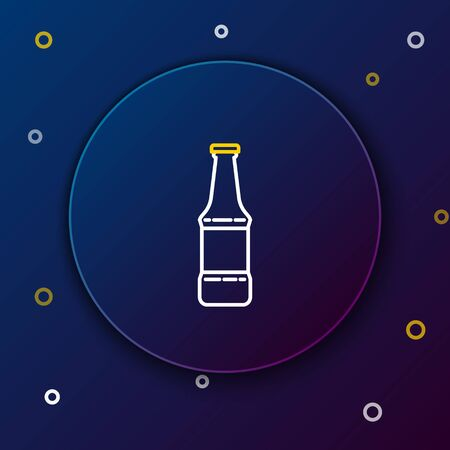 White and yellow line Beer bottle icon isolated on dark blue background. Colorful outline concept. Vector Illustration Illustration
