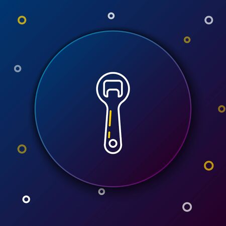 White and yellow line Bottle opener icon isolated on dark blue background. Colorful outline concept. Vector Illustration Illustration