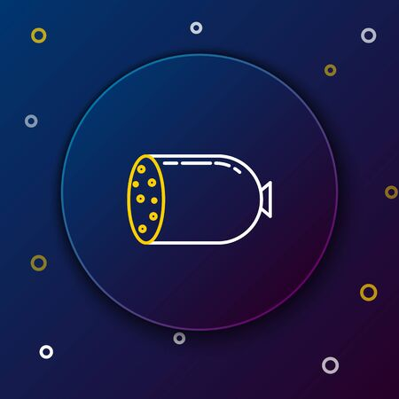 White and yellow line Salami sausage icon isolated on dark blue background. Meat delicatessen product. Colorful outline concept. Vector Illustration Illusztráció