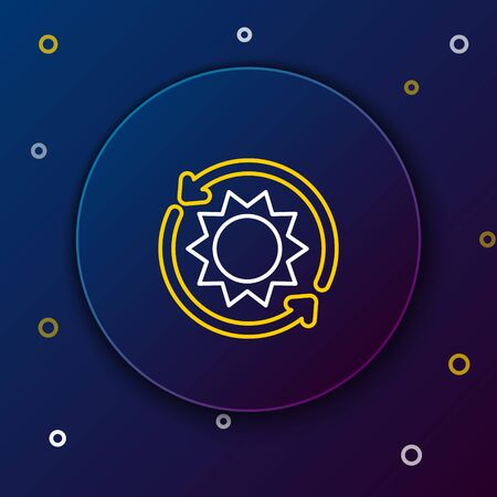 White and yellow line Solar energy panel icon isolated on dark blue background. Sun with lightning symbol. Colorful outline concept. Vector Illustration