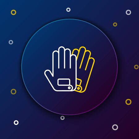 White and yellow line Gloves icon isolated on dark blue background. Extreme sport. Sport equipment. Colorful outline concept. Vector Illustration