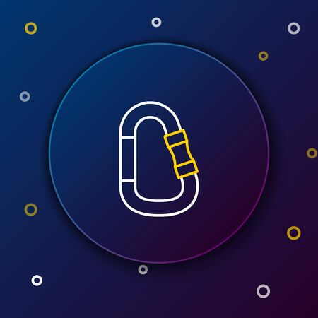 White and yellow line Carabiner icon isolated on dark blue background. Extreme sport. Sport equipment. Colorful outline concept. Vector Illustration  イラスト・ベクター素材