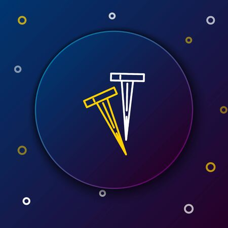 White and yellow line Pegs for tents icon isolated on dark blue background. Extreme sport. Sport equipment. Colorful outline concept. Vector Illustration  イラスト・ベクター素材
