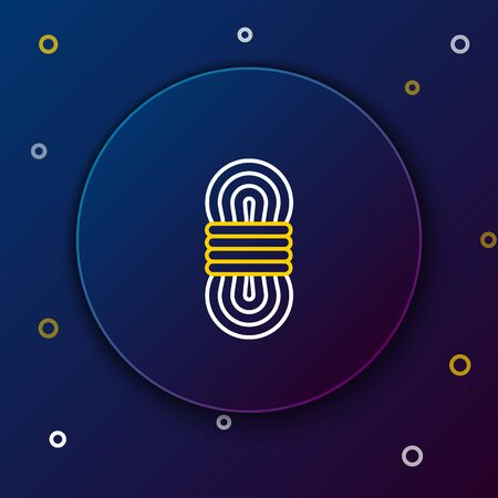 White and yellow line Climber rope icon isolated on dark blue background. Extreme sport. Sport equipment. Colorful outline concept. Vector Illustration  イラスト・ベクター素材
