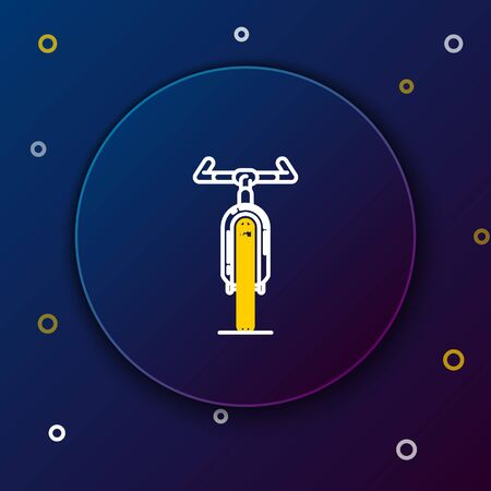 White and yellow line Bicycle icon isolated on dark blue background. Bike race. Extreme sport. Sport equipment. Colorful outline concept. Vector Illustration