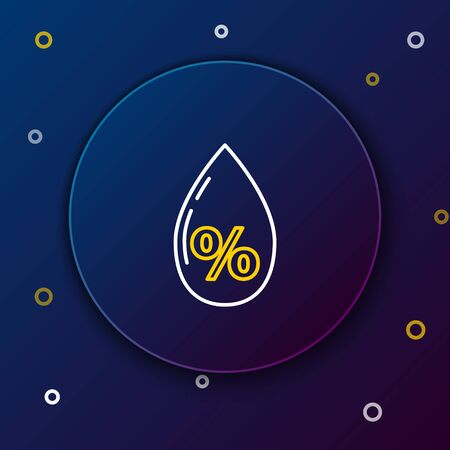 White and yellow line Water drop percentage icon isolated on dark blue background. Humidity analysis. Colorful outline concept. Vector Illustration
