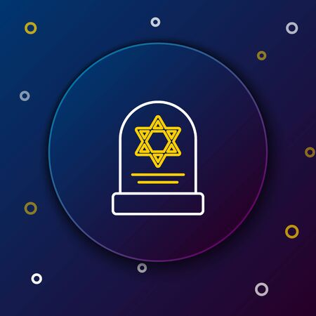 White and yellow line Tombstone with star of david icon isolated on dark blue background. Jewish grave stone. Gravestone icon. Colorful outline concept. Vector Illustration