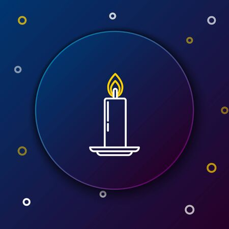 White and yellow line Burning candle in candlestick icon on dark blue background. Old fashioned lit candle. Cylindrical candle stick with burning flame. Colorful outline concept. Vector Illustration