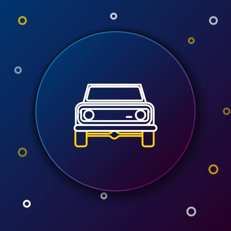 White and yellow line Off road car icon isolated on dark blue background.