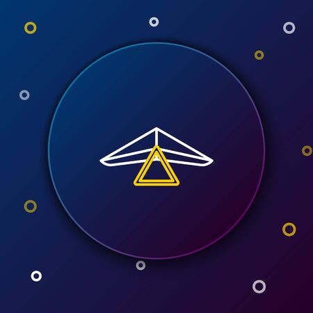 White and yellow line Hang glider icon isolated on dark blue background. Extreme sport. Colorful outline concept. Vector Illustration