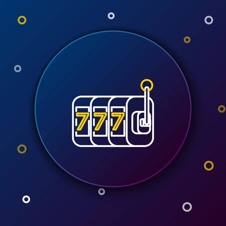 White and yellow line Slot machine with lucky sevens jackpot icon isolated on dark blue background. Colorful outline concept. Vector Illustration