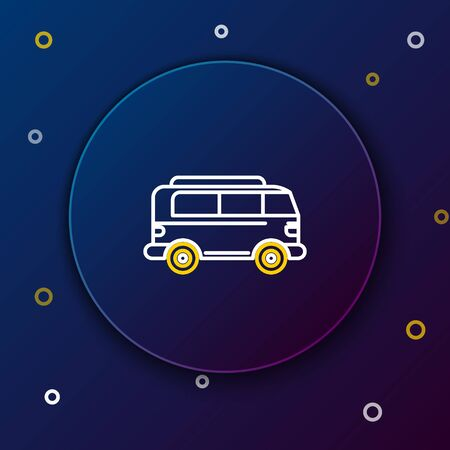 White and yellow line Retro minivan icon isolated on dark blue background. Old retro classic traveling van. Colorful outline concept. Vector Illustration