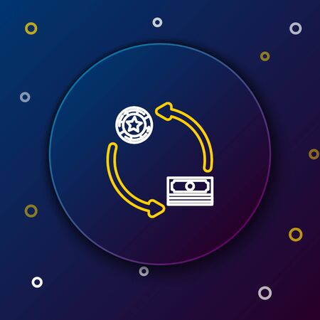 White and yellow line Casino chips exchange on stacks of dollars icon isolated on dark blue background. Colorful outline concept. Vector Illustration