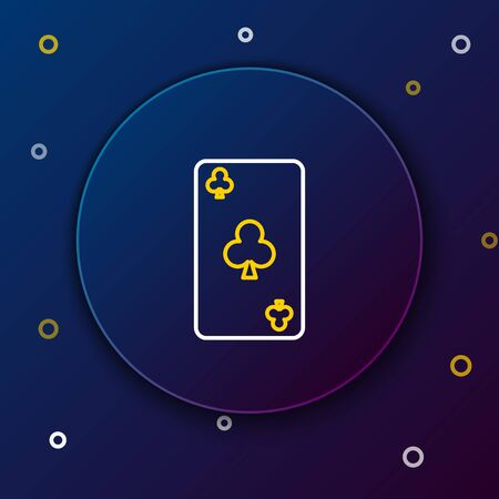 White and yellow line Playing card with clubs symbol icon isolated on dark blue background. Casino gambling. Colorful outline concept. Vector Illustration 向量圖像