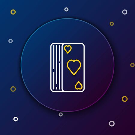 White and yellow line Deck of playing cards icon isolated on dark blue background. Casino gambling. Colorful outline concept. Vector Illustration 向量圖像