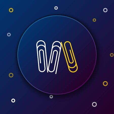 White and yellow line Paper clip icon isolated on dark blue background. Colorful outline concept. Vector Illustration 向量圖像