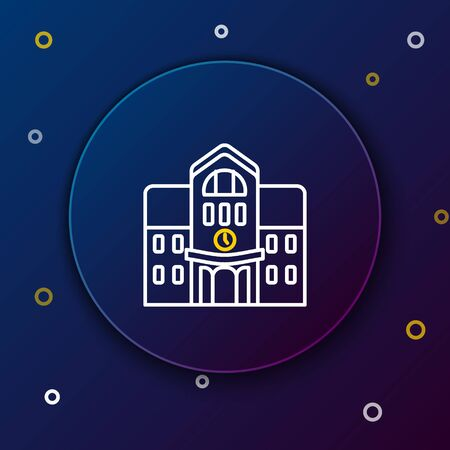 White and yellow line School building icon isolated on dark blue background. Colorful outline concept. Vector Illustration 向量圖像