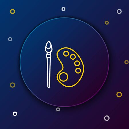 White and yellow line Paint brush with palette icon isolated on dark blue background. Colorful outline concept. Vector Illustration
