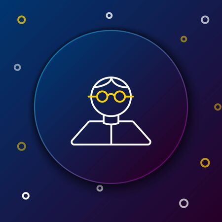 White and yellow line Student icon isolated on dark blue background. Colorful outline concept. Vector Illustration