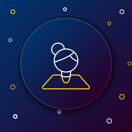 White and yellow line Teacher icon isolated on dark blue background. Colorful outline concept. Vector Illustration