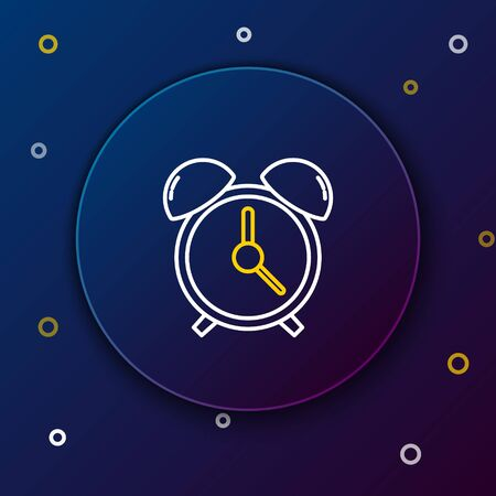 White and yellow line Alarm clock icon isolated on dark blue background. Wake up, get up concept. Time sign. Colorful outline concept. Vector Illustration Vettoriali