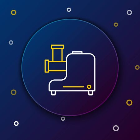 White and yellow line Kitchen meat grinder icon isolated on dark blue background. Colorful outline concept. Vector Illustration