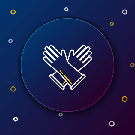 White and yellow line Rubber gloves icon on dark blue background. Latex hand protection sign. Housework cleaning equipment symbol. Colorful outline concept. Vector Illustration