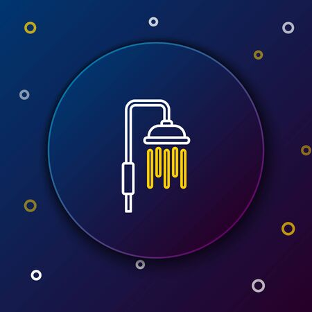 White and yellow line Shower head with water drops flowing icon on dark blue background. Colorful outline concept. Vector Illustration