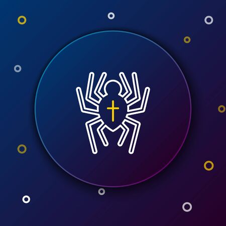 White and yellow line Spider icon isolated on dark blue background. Happy Halloween party. Colorful outline concept. Vector Illustration Ilustração