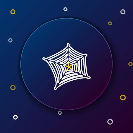 White and yellow line Spider web icon isolated on dark blue background. Cobweb sign. Happy Halloween party. Colorful outline concept. Vector Illustration