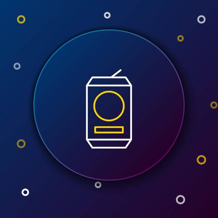 White and yellow line Beer can icon isolated on dark blue background. Colorful outline concept. Vector Illustration Illustration