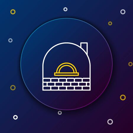 White and yellow line Brick stove icon isolated on dark blue background. Brick fireplace, masonry stove, stone oven icon.Colorful outline concept. Vector Illustration