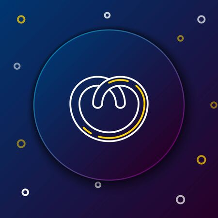White and yellow line Pretzel icon isolated on dark blue background. German comfort food pastry. Oktoberfest festival. Colorful outline concept. Vector Illustration