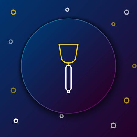 White and yellow line Spatula icon isolated on dark blue background. Kitchen spatula icon. BBQ spatula sign. Barbecue and grill tool. Colorful outline concept. Vector Illustration